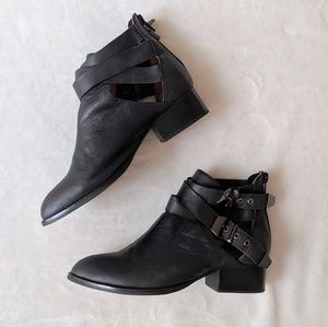 Jeffrey Campbell Everly Black Buckle Booties